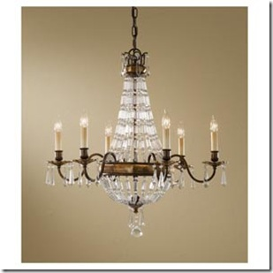 Trend  th Century European regency empire crystal chandelier style It has uniquely shaped rectangular crystals faceted trim and sculpted bobeches