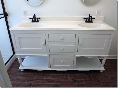 Cute The double sink top made from white marble to echo white ironstone and the fresh farmhouse feel I am after I added Delta faucets in a oil bronze finish for